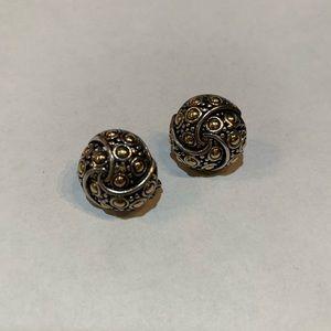 John Hardy Button Pierced Earrings .925 18K Gold